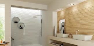 Holz im Bad? Bisher undenkbar. Mit keramischen Wandbelägen wie hier von der Firma Azteca ist jede Holzoptik möglich – auch in Dusche und Co. (Foto: epr/Tile of Spain/Azteca)