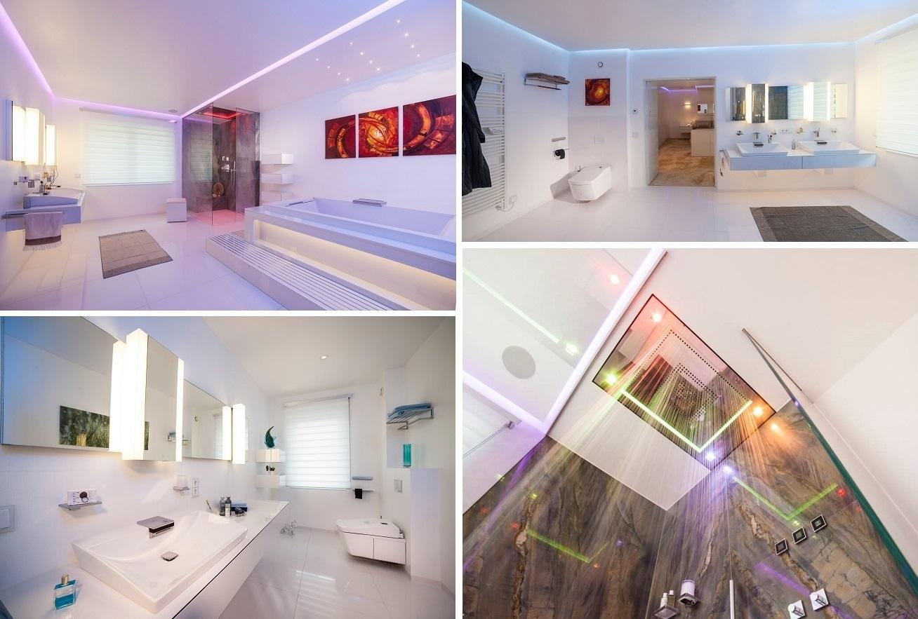 Colage vom Designer Torsten Müller über seine Luxus Badarchitektur Konzepte