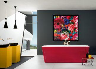Schon auf der ISH 2019 werden farbig provozierende Bäder zu sehen sein – von knalligen Waschtischen in Sanitärkeramik bis hin zu transparenten Badmöbeln in Blau und Grün: ein Top-Trend im Badezimmer. (Foto: Villeroy & Boch)